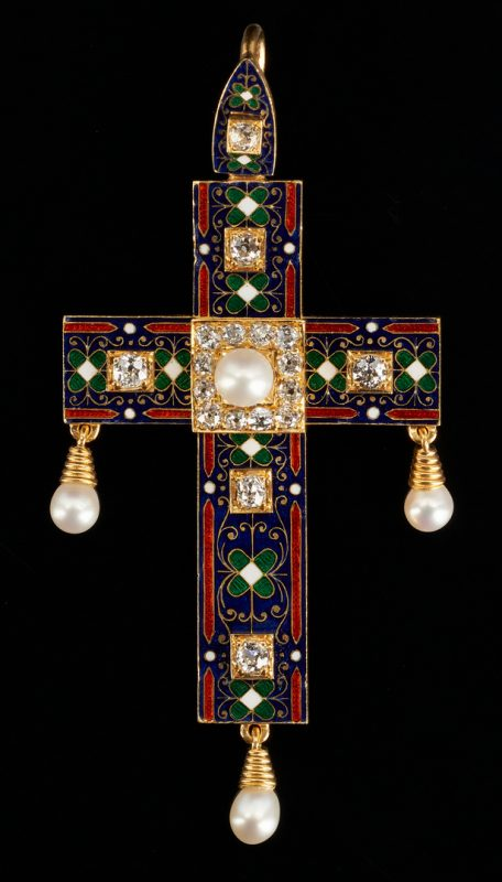 Lot 30: 18K Gold, Enamel, and Diamond Cross Pendant, 19th c.