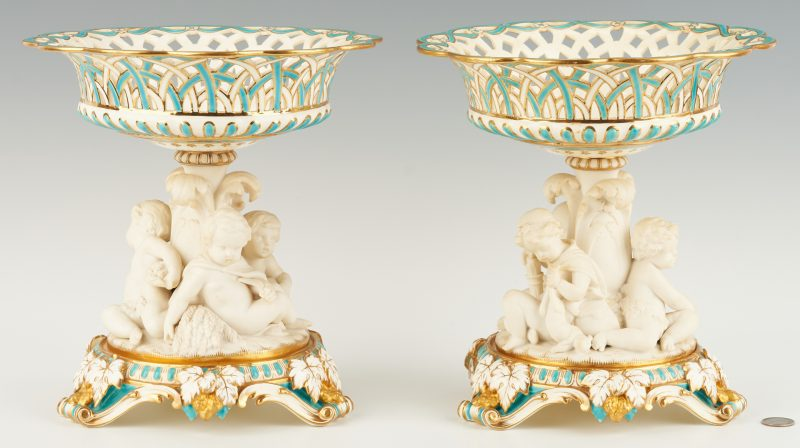 Lot 310: Pair Porcelain Corbeilles with Bisque Putti