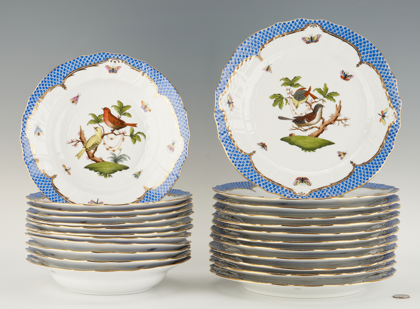 Lot 313: 24 Herend Rothschild Bird Blue Pattern Chargers, Soup Plates