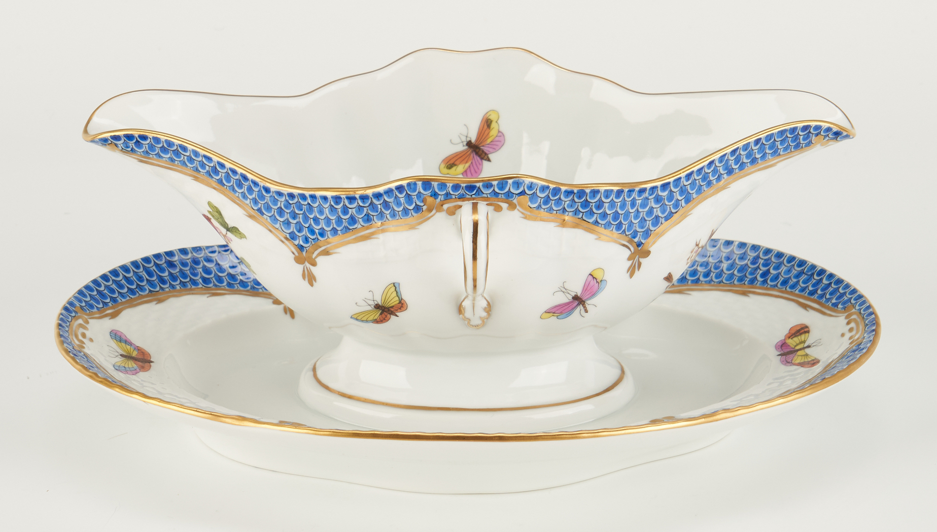 Lot 315: 4 Herend Rothschild Bird Blue Border Serving Items