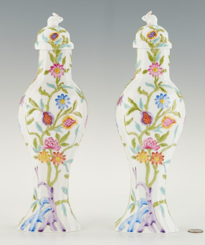 Lot 316: Pair Herend Porcelain Urns, Rabbit Finials