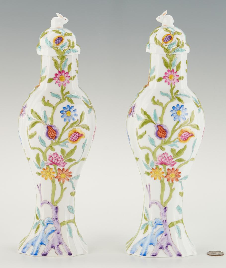 Lot 316: Pair Herend Porcelain Urns, Rabbit Finials
