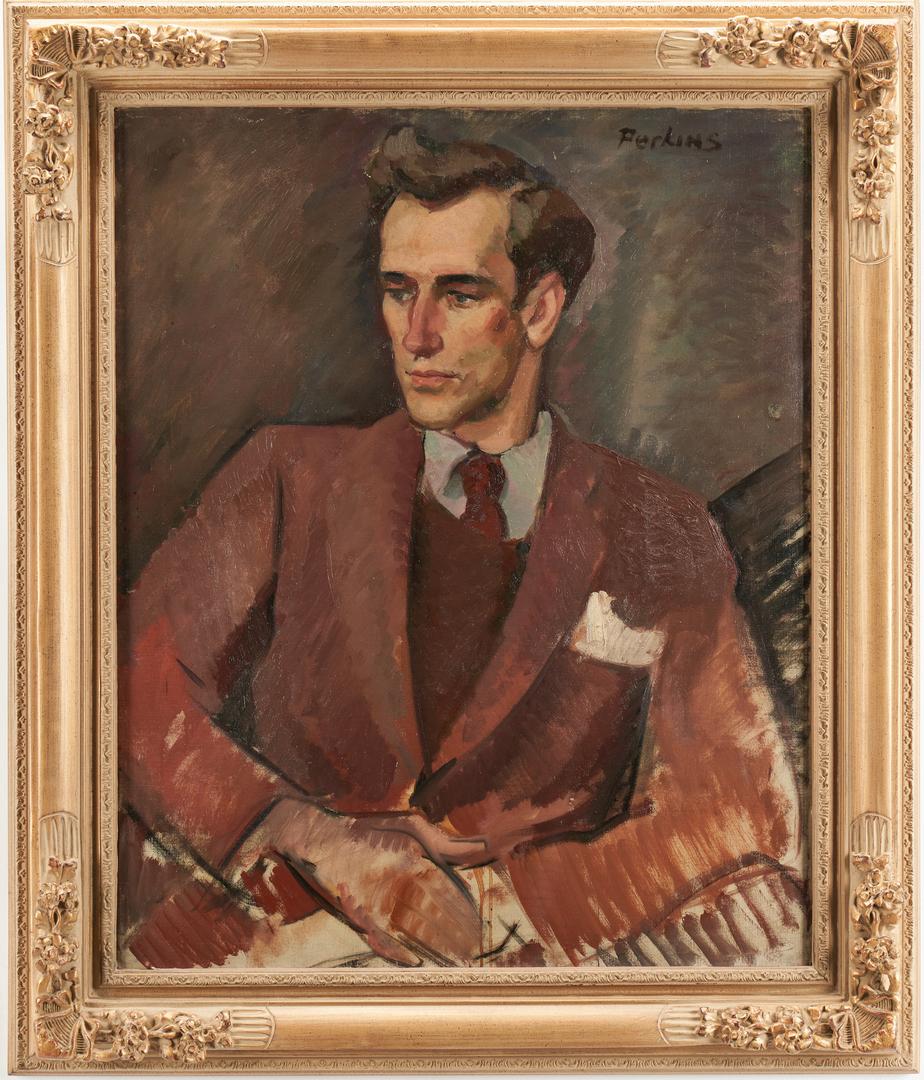 Lot 320: Philip Perkins O/C Portrait, Man in Suit
