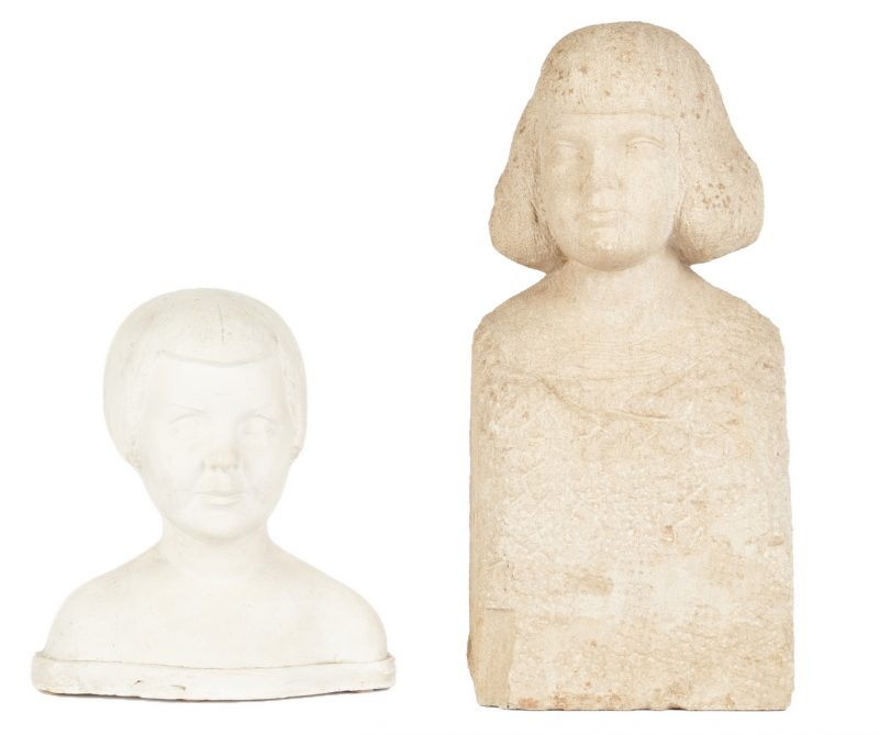 Lot 325: Puryear Mims Limestone Sculpture & Plaster Bust
