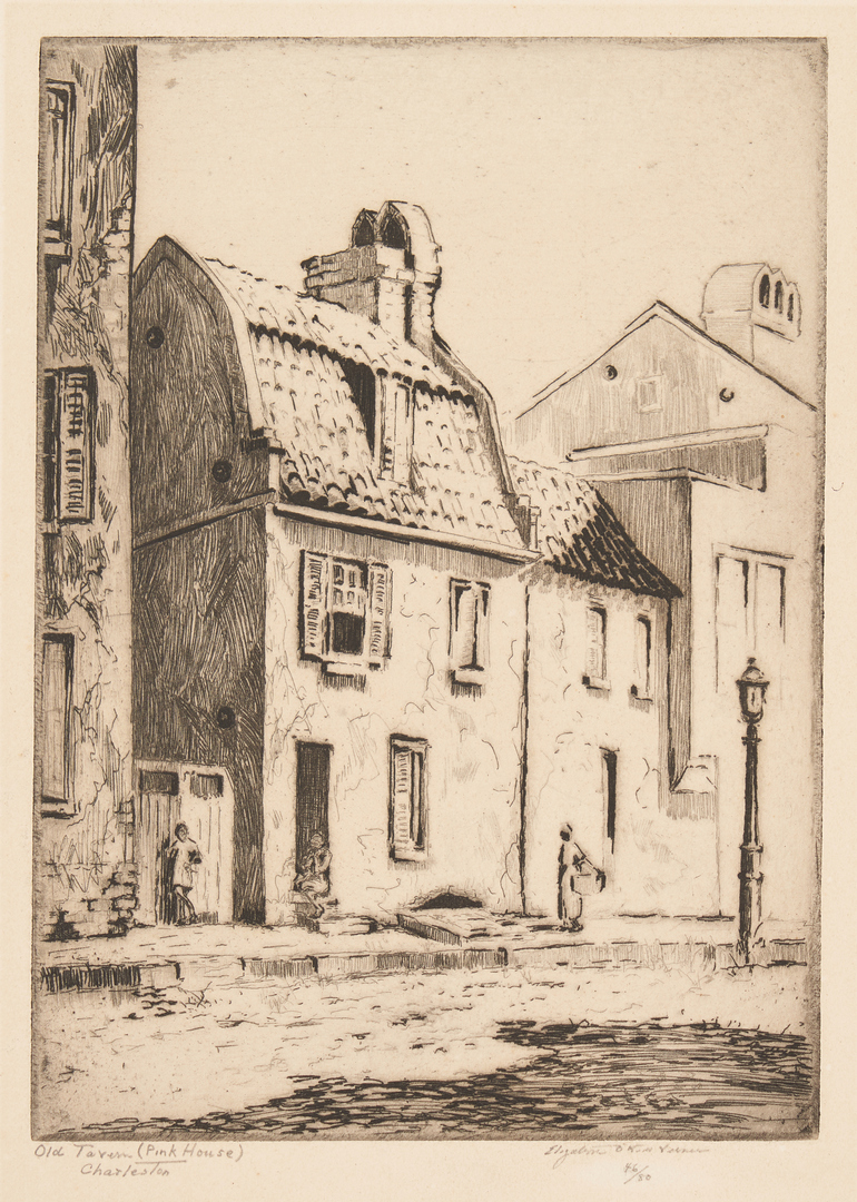 Lot 334: Elizabeth O'Neill Verner, Charleston Old Tavern Pink House Etching