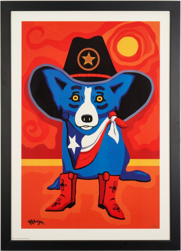 Lot 337: Rodrigue Blue Dog Estate Print, Take Me Back to Texas