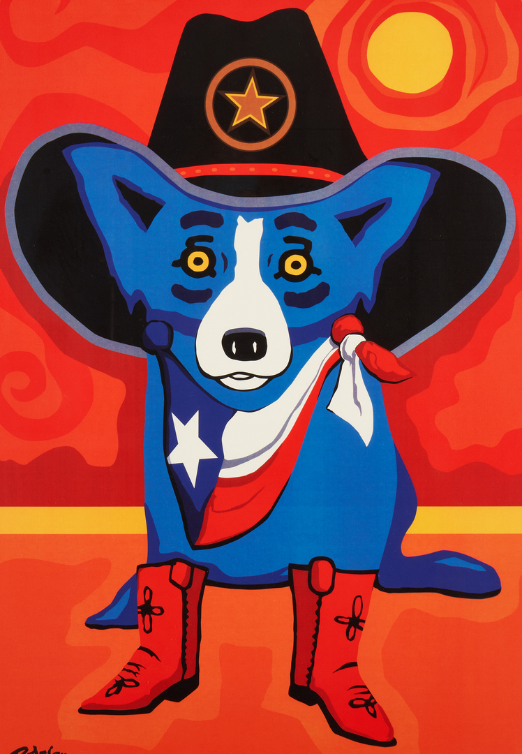 Lot 337: Rodrigue Blue Dog Estate Print, Take Me Back to Texas