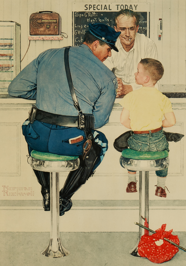 Lot 338: Norman Rockwell Signed Lithograph, The Runaway