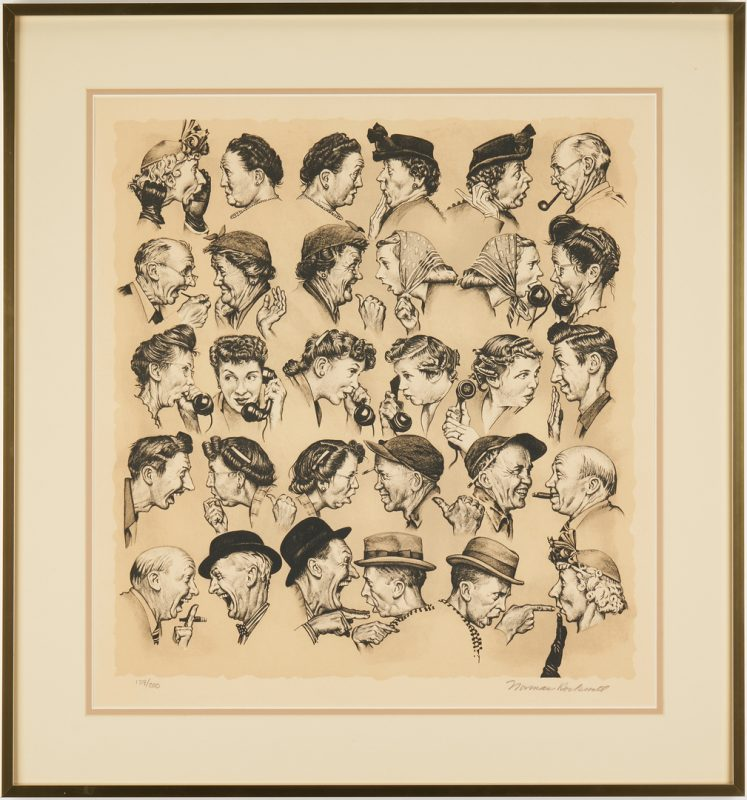 Lot 339: Norman Rockwell Signed Lithograph, The Gossips