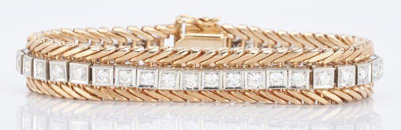 Lot 33: 14K Gold and Diamond Tennis Bracelet