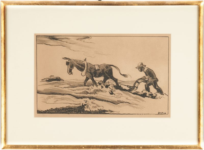 "Lot 341: Thomas Hart Benton Lithograph, ""Plowing It Under"""