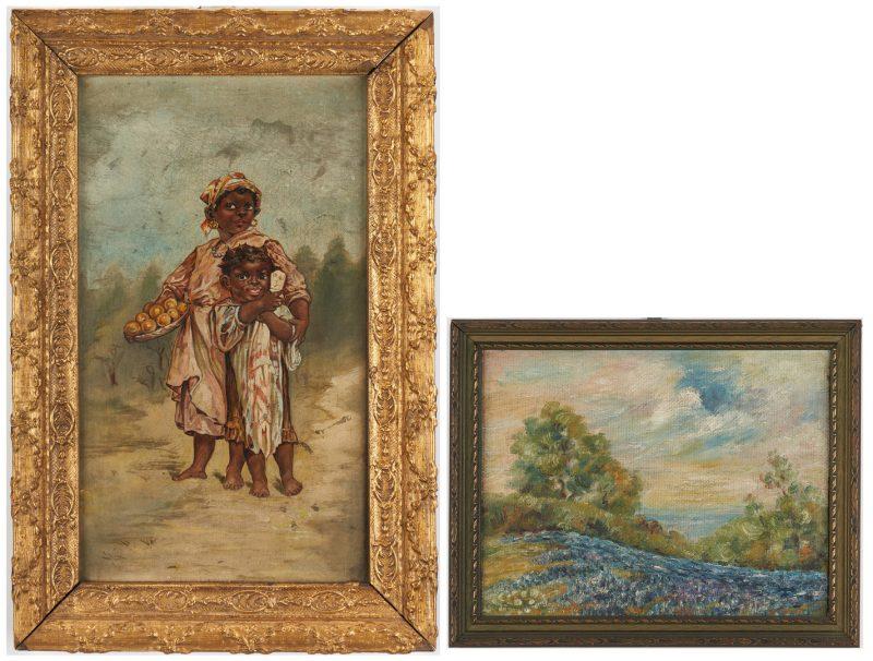 Lot 344: 2 Oil Paintings, incl. African American Portrait, Bluebonnets