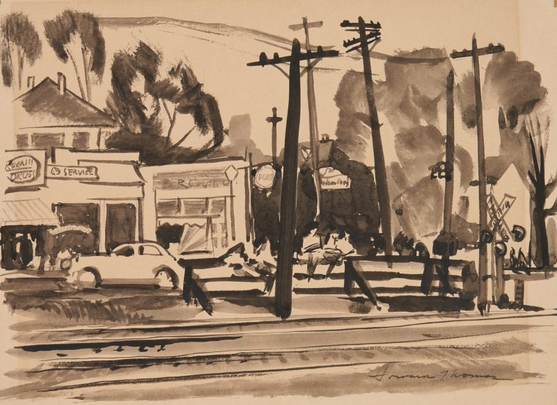 Lot 345: Howard Thomas Watercolor Streetscape, poss. Georgia