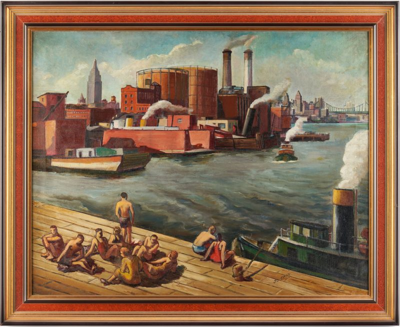 Lot 347: Joseph Cain O/C, New York Harbor