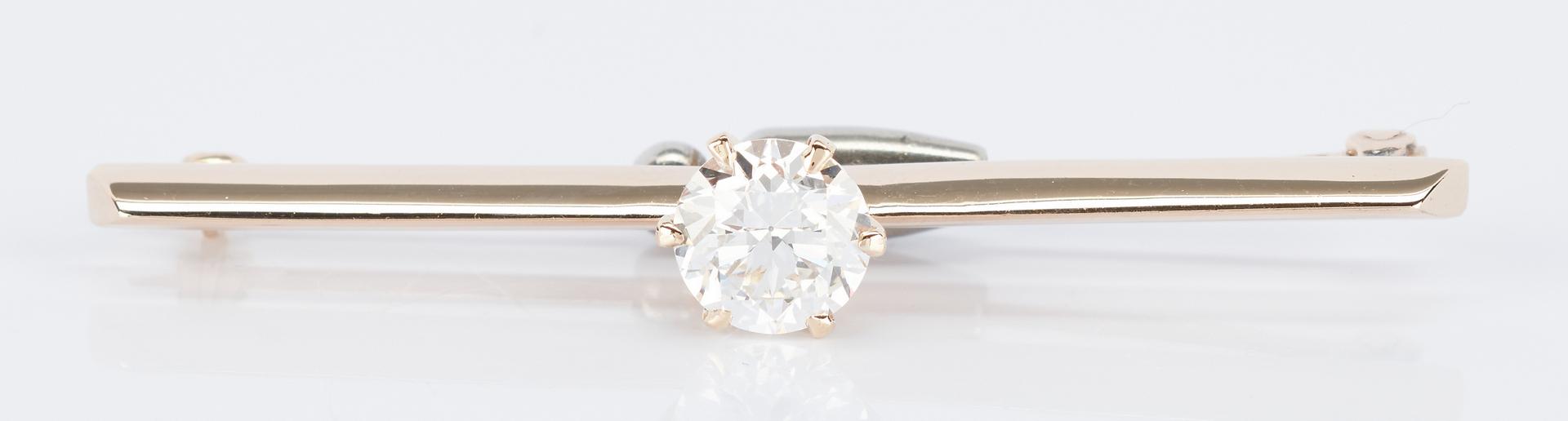 Lot 34: Ladies Antique 14K Diamond Bar Pin