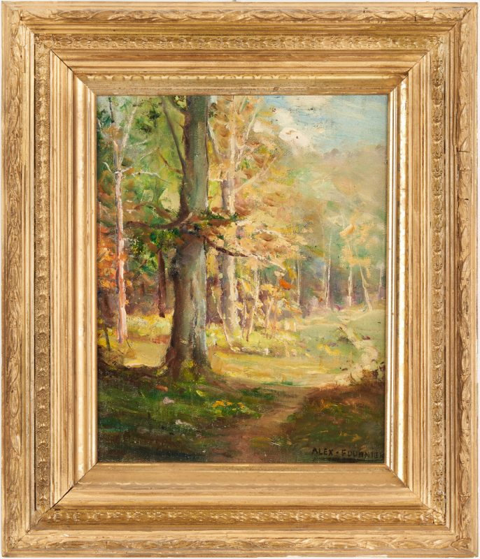 Lot 353: Alexis Fournier O/B Painting Barbizon-Style Landscape