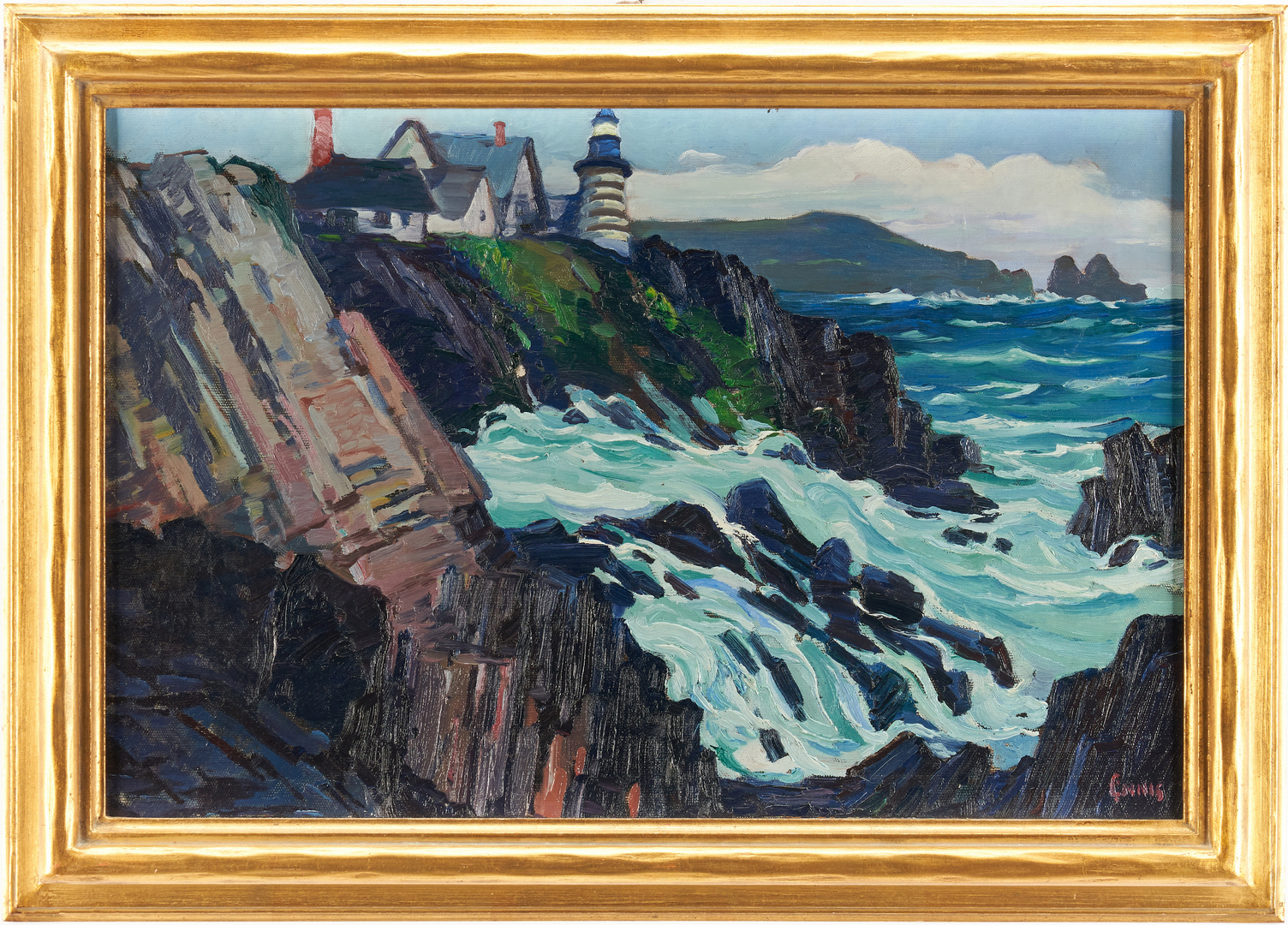 Lot 355: George Pearse Ennis O/C, West Quoddy Head Lighthouse, Maine