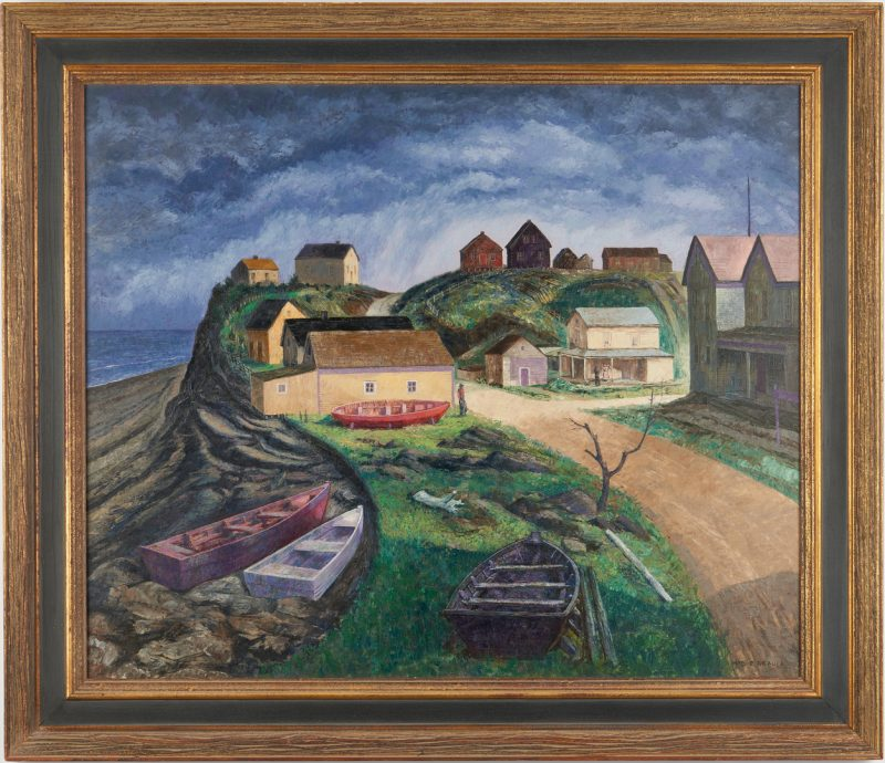 Lot 356: William Grauer O/C Painting, Seaside Village
