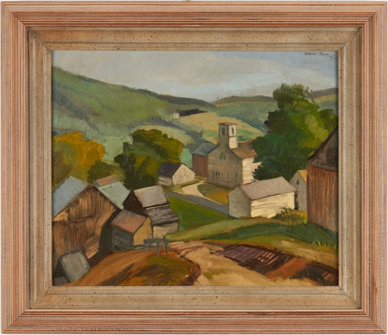 Lot 357: Sam Thal O/B Painting, Maine Landscape