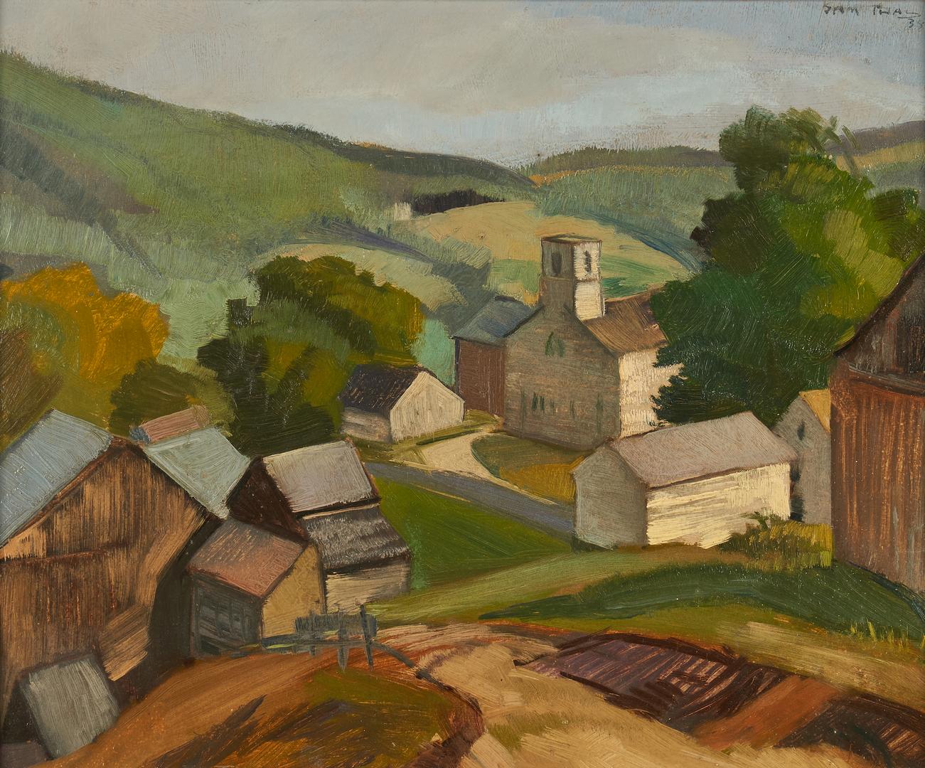 Lot 357: Sam Thal O/B Painting, Maine Landscape