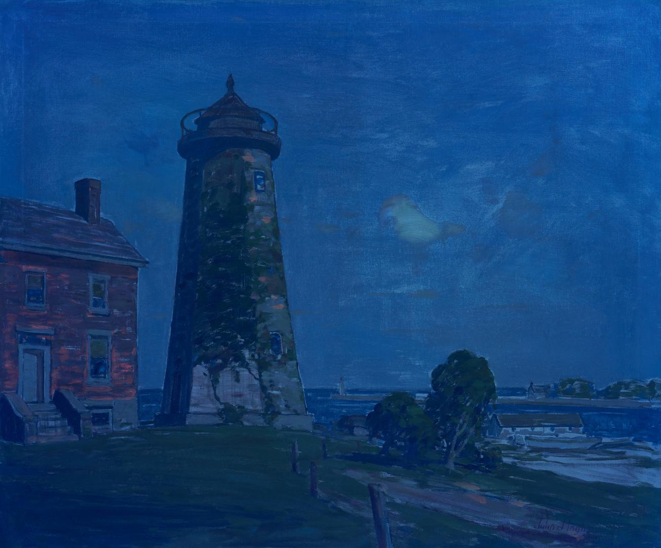 Lot 359: John Inglis O/C, Marine Painting w/ Lighthouse