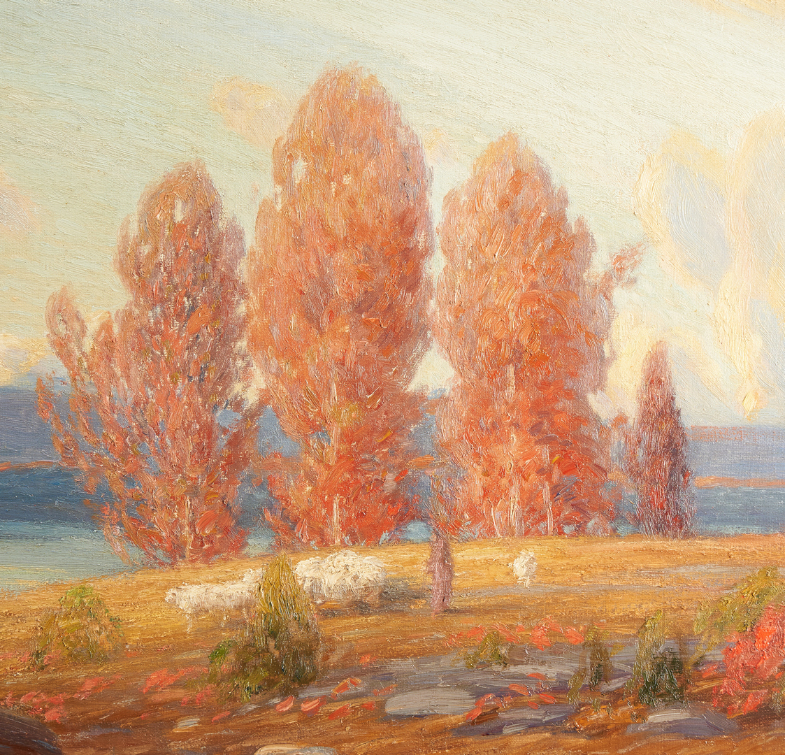 Lot 360: Gustave Wiegand O/C Painting, Autumn Landscape w/ Sheep