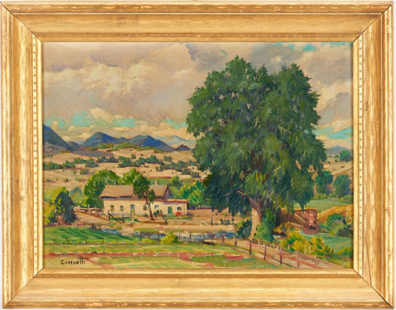 Lot 361: Exhibited Gustave Cimiotti, Jr. O/B Landscape, Farm Amongst Hills