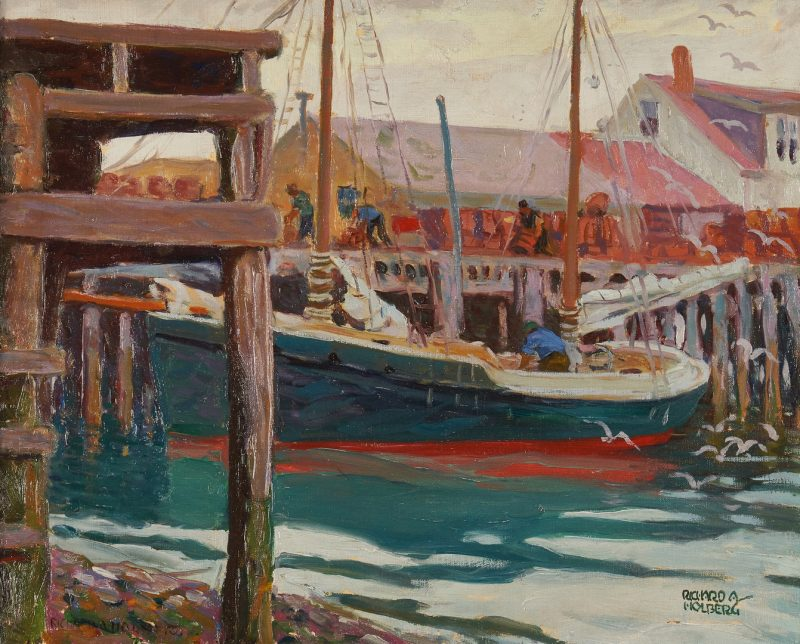 Lot 364: Richard Holberg O/C Painting, Harbor Scene