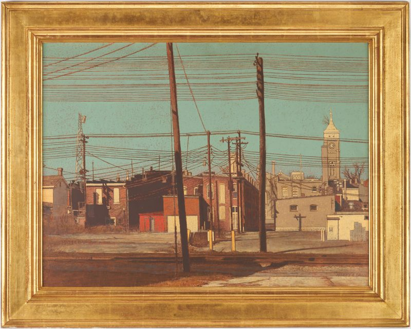 Lot 365: Harry A. Davis Acrylic on Board Downtown Scene of Greensburg