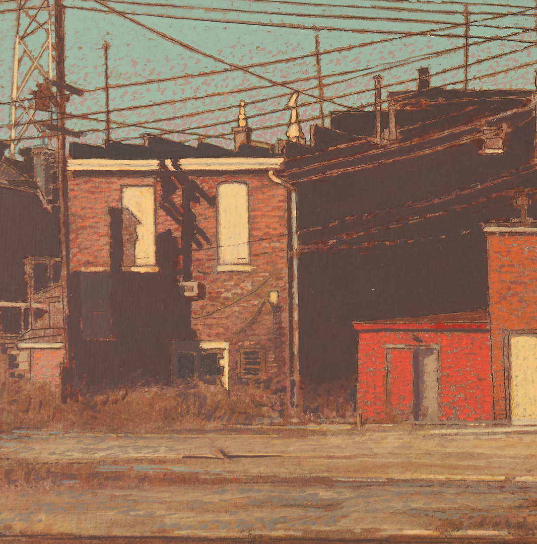 Lot 365: Harry A. Davis Acrylic on Board Downtown Scene of Greensburg