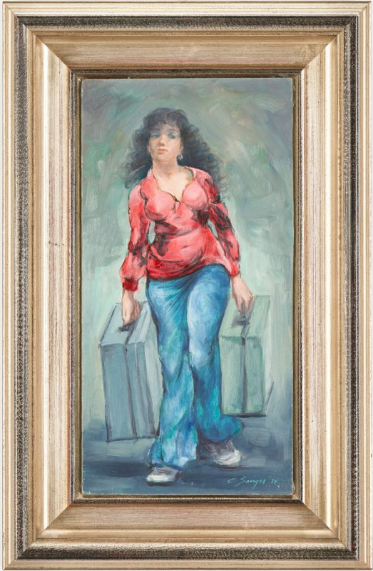 Lot 366: Clyde Singer O/B Painting, Girl with Luggage