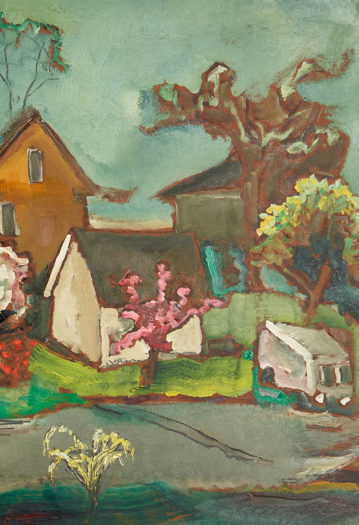 Lot 367: Sterling Strauser O/B Painting, Alley in the Springtime