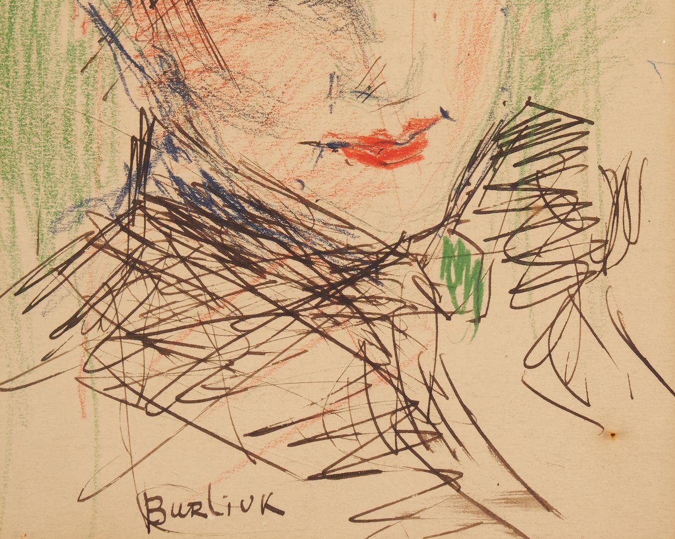 Lot 370: David Burliuk Drawing, Portrait of a Lady