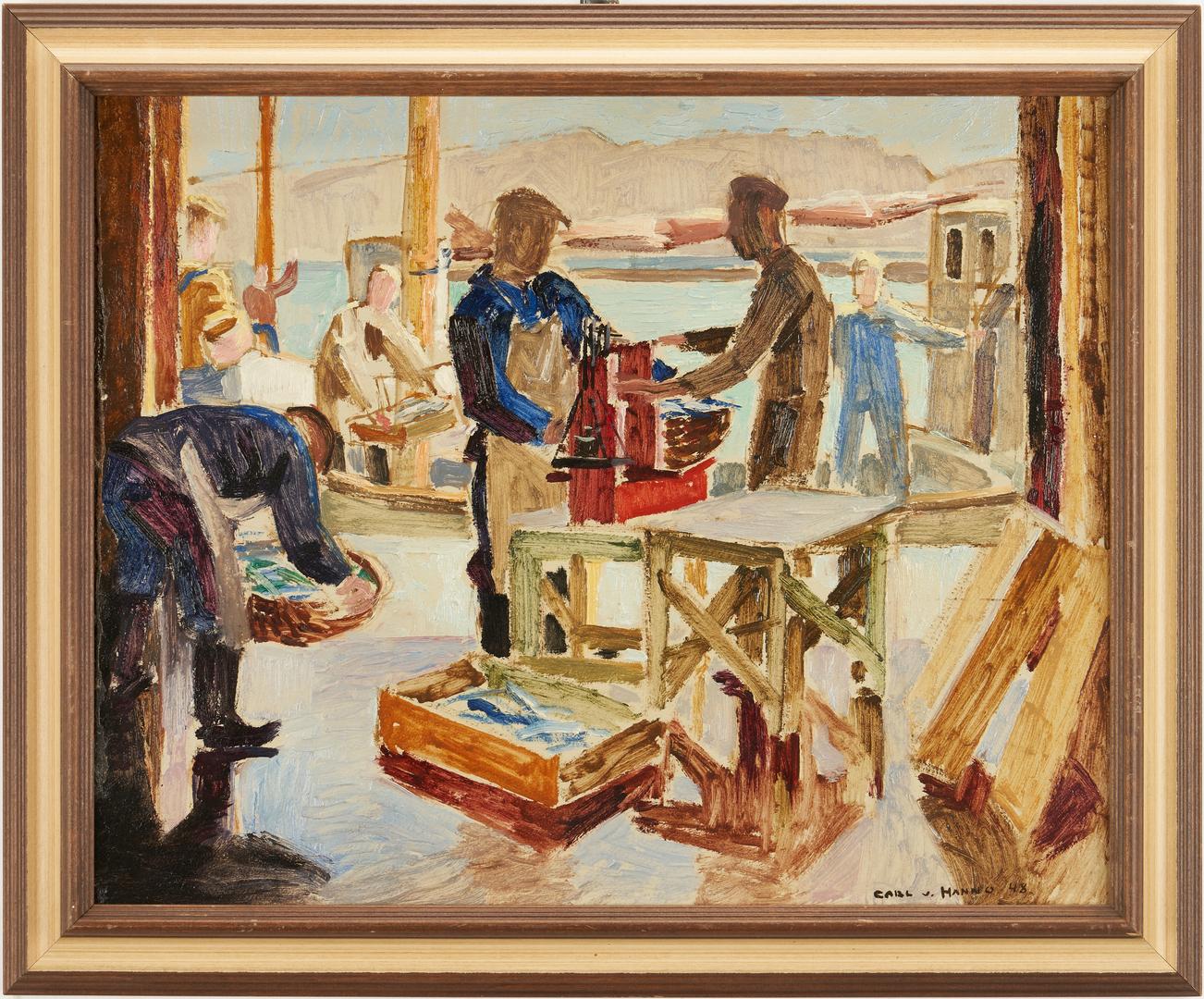 Lot 371: Carl Von Hanno O/B, Men Weighing Fish