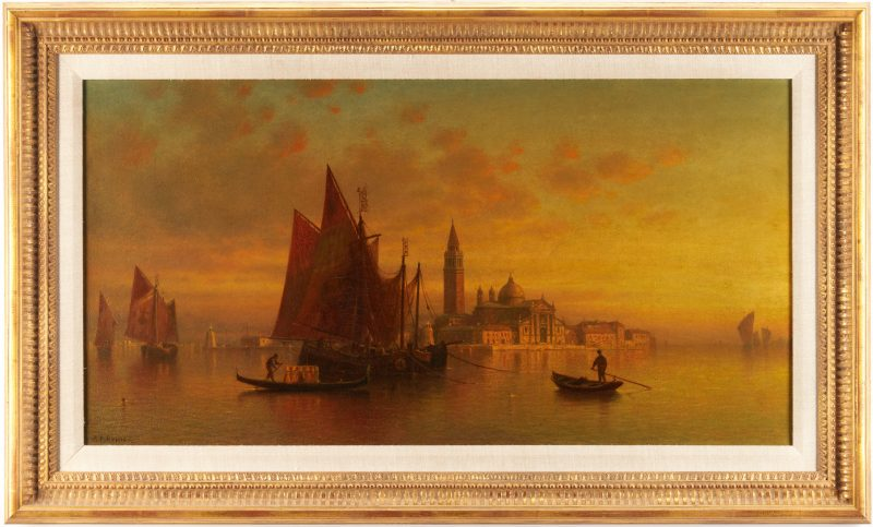 Lot 372: Andrew F. Bunner O/C, Venice – San Giorgio Maggiore at Sunset
