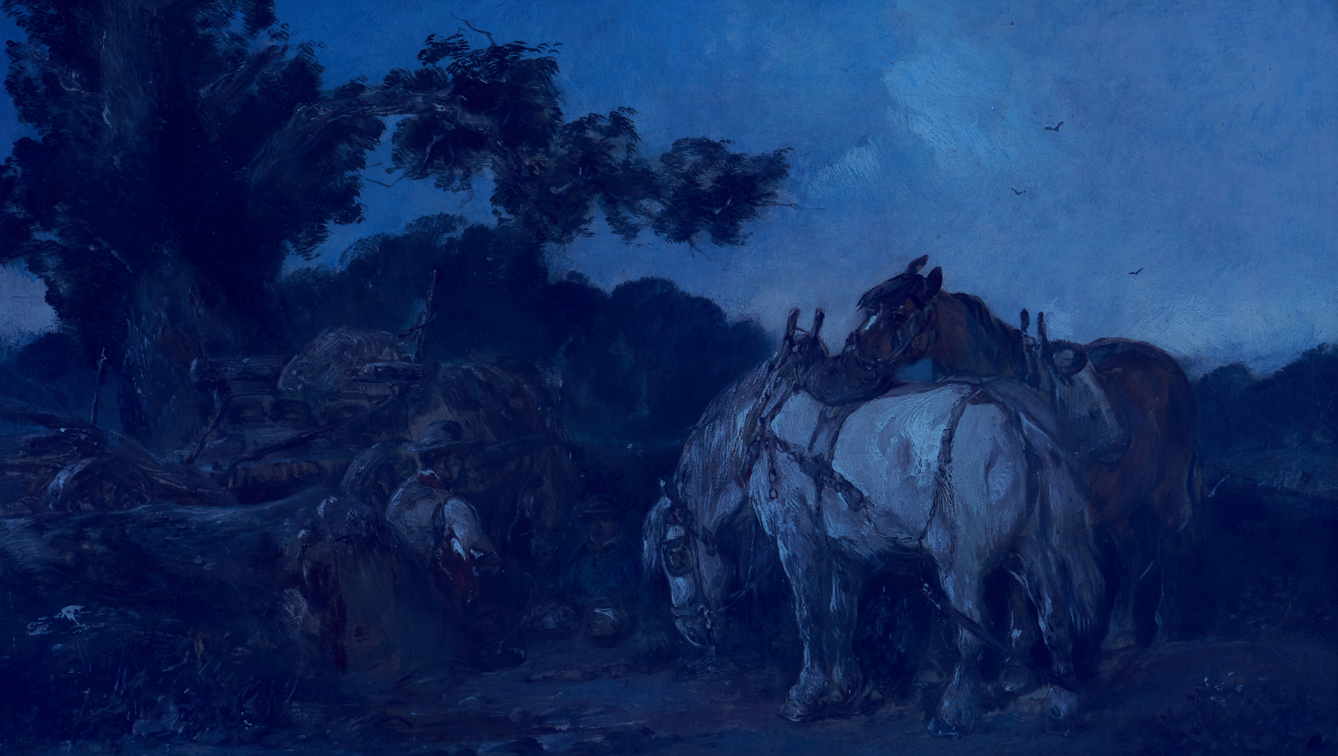 Lot 375: Attr. Alexis De Leeuw O/C, Travelers and Horses at Rest