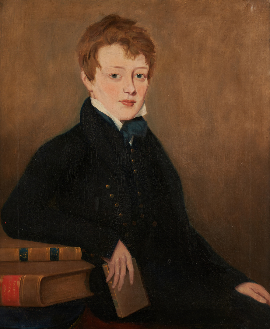 Lot 378: English School, O/C Portrait of a Young Man with Books