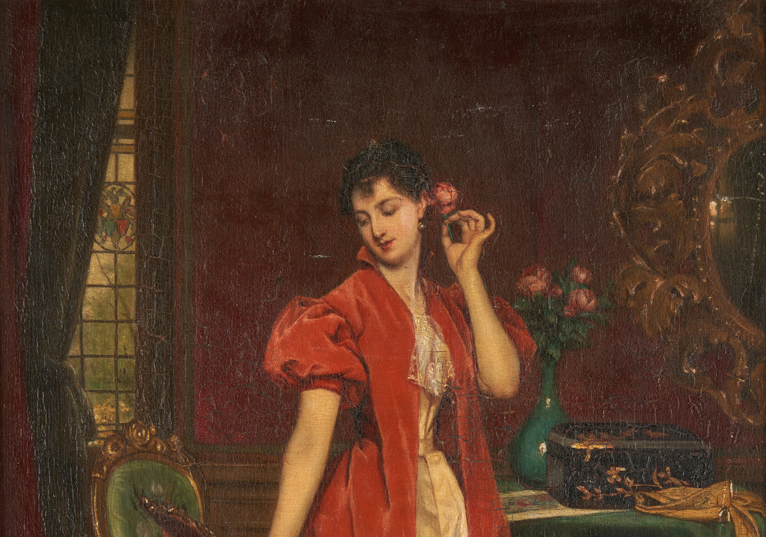 Lot 379: Attr. Louis Tannert O/P, Young Woman with Mirror