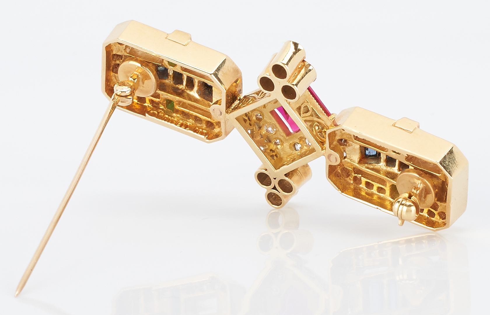 Lot 37: Ladies Designer 18K Diamond & Colored Stone Bar Pin, Krypell