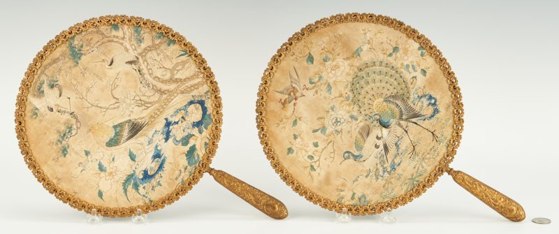 Lot 385: Pair Chinese Embroidered Face Screens