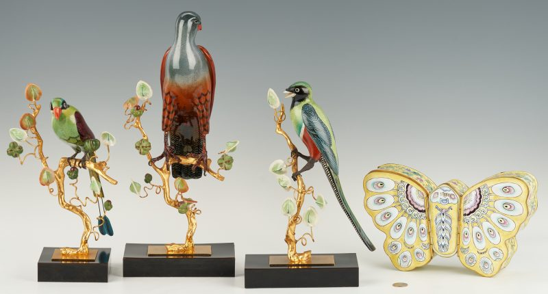 Lot 389: 3 Gilt Bronze and Enamel Birds plus Butterfly Box, 4 items