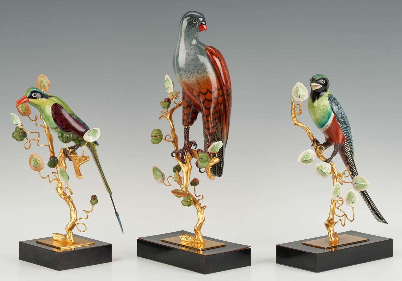 Lot 389: 3 Gilt Bronze and Enamel Birds plus Butterfly Box, 4 items
