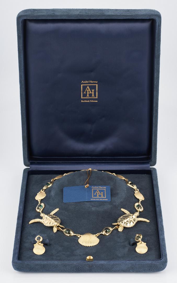 Lot 38: 18K Gold Sea Turtle & Shell Necklace & Earrings, Harvey