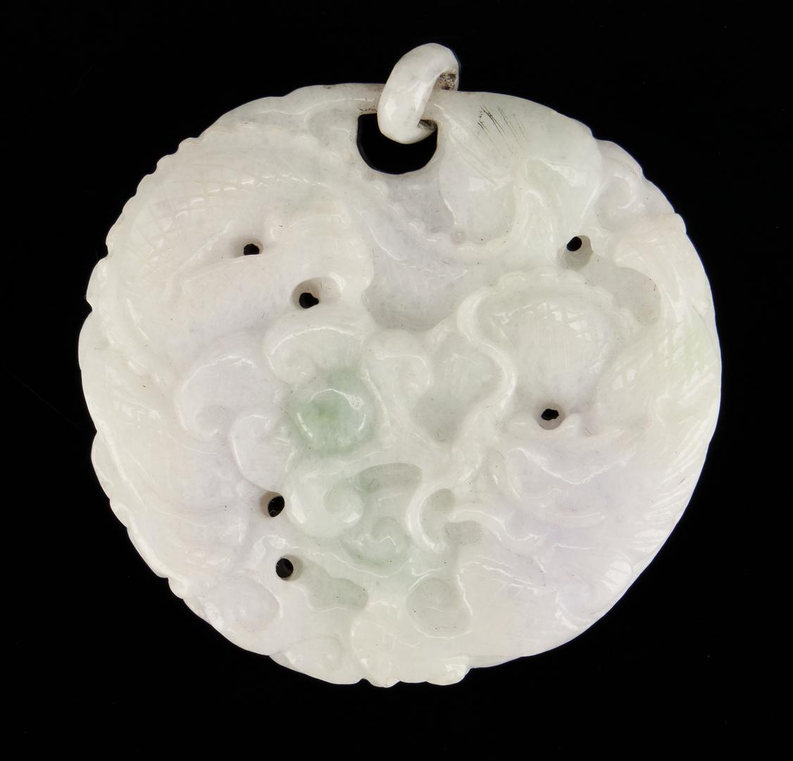 Lot 390: 4 Chinese Jade pendants inc. 14K and diamond