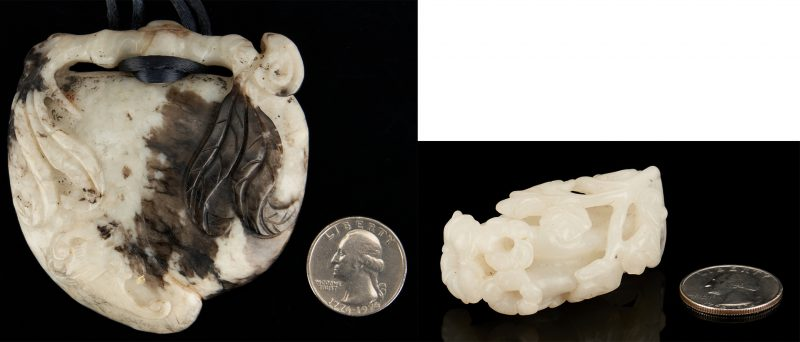 Lot 391: 2 Chinese Carved Jade Items, incl. White Jade