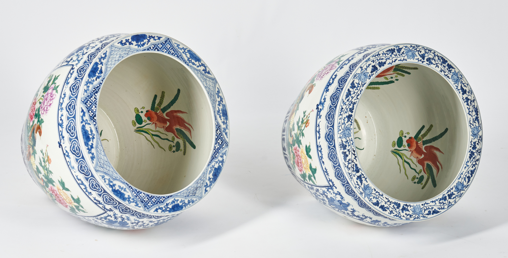 Lot 394: Near Pair of Blue and White Porcelain Fish Bowls