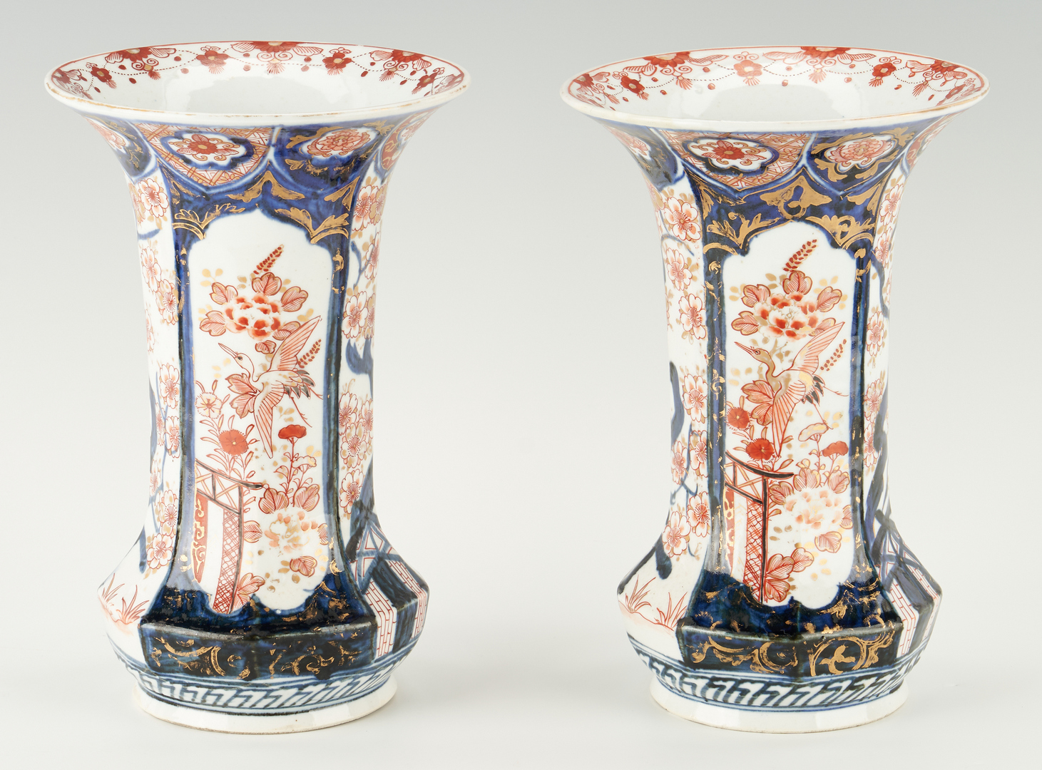 Lot 396: Pair of Imari Porcelain Vases, Boat and Square Dishes