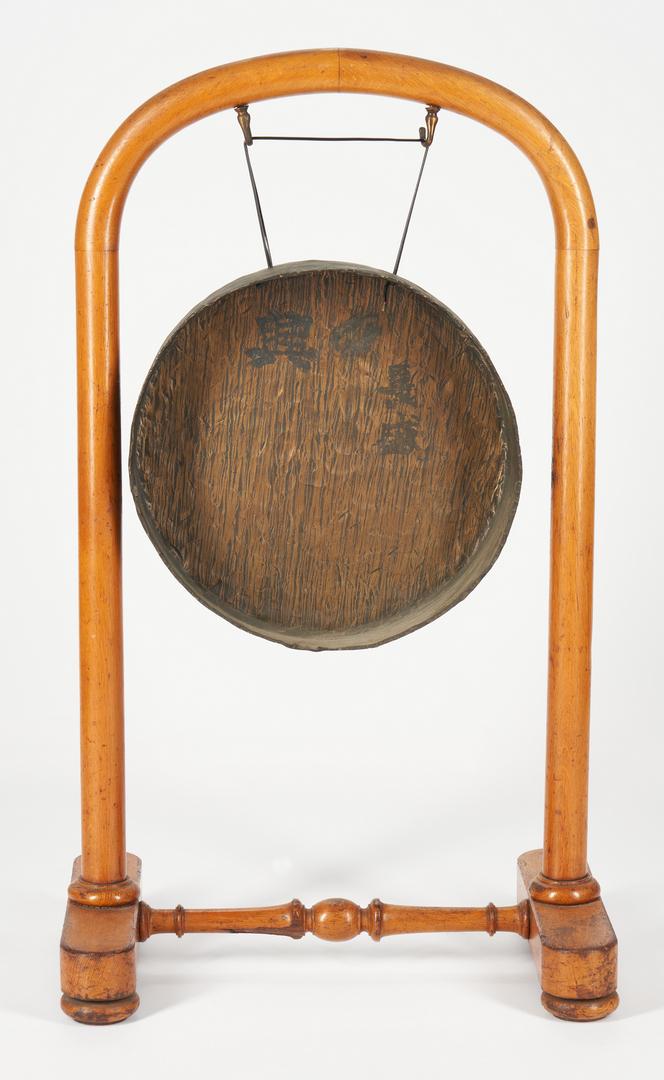 Lot 397: Bronze European & Asian Gong w/ Stand