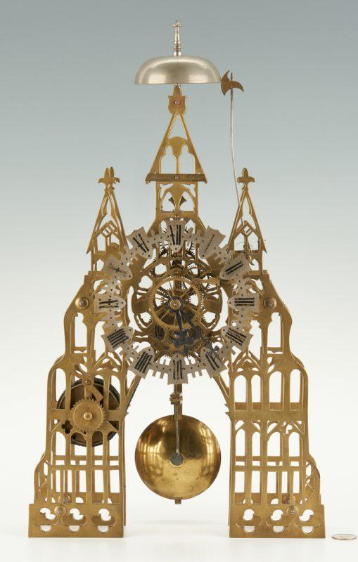 Lot 398: 19th. Century English Skeleton Clock