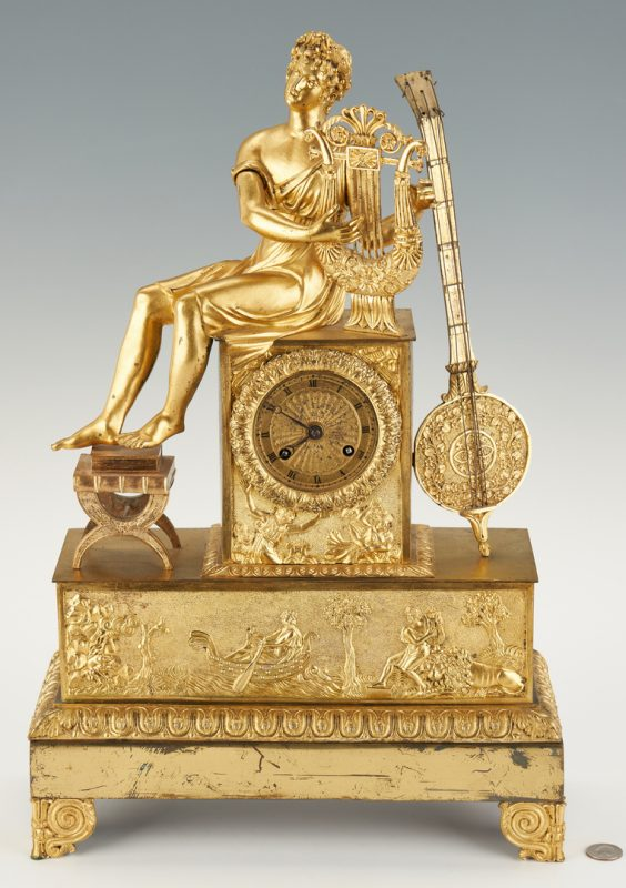 Lot 401: French Ormolu Figural Clock, Music Theme